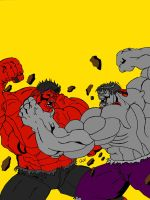 Red Hulk vs. Savage Gray Hulk by QBZ