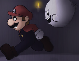 Mario And A Boo by PinkPuffKirby