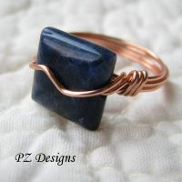 Sodalite and Copper Ring by PurlyZig