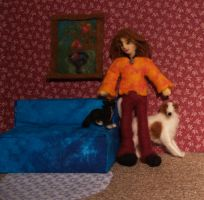 dreadie doll with pets by feltAliza