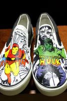 Customized shoes: Iron man and Hulk by stevengico