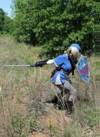 Blue Tunic Link Cosplay-Cutting the Grass by Juliana-Nasome