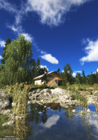 Mountain Lake Cottage ( Blue Sky)© by Massi-San