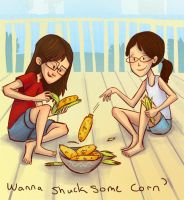 Shucking corn by berf