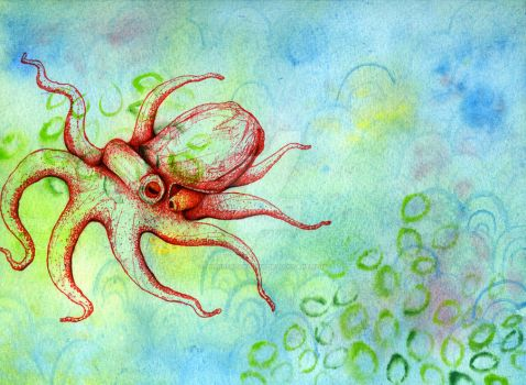 Red octopus by lionbeforelamb