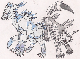 Garurumon and MixGarurumon by HarukoInu