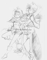 Lina and Gourry sketch by Deih