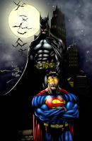 Batman and Superman - Pinup by 00AceOfSpades00