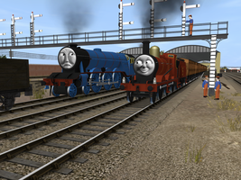 James and the Express by SkarloeyRailway