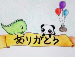 Dino and Panda Thank You 011 by MelodicInterval