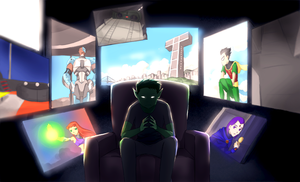 Commission: Beast Boy watching by momijigirl