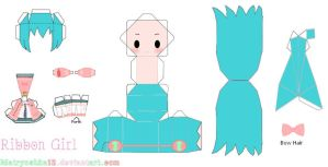 Hatsune Miku Ribbon Girl Papercraft by matryoshka12