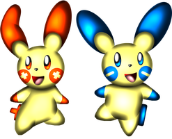 Plusle and Minun by CrossoverGamer