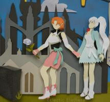RWBY Paper Art Nora and Weiss close up by elathera