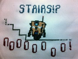 Borderlands Cl4P-TP Cross-stitch: STAIRS!? by EquoNeCredite