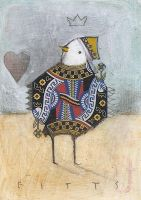 Bird Queen of Hearts ACEO by SethFitts
