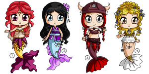 [CLOSED] Mermaid Adoptables -collab with Heyenna by izka197