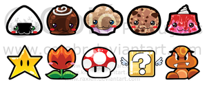 Stikers : Mario and cute food by EtiBR