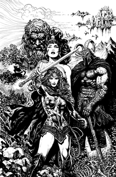 Wonder Woman issue 1 cover uncolored by LiamSharp