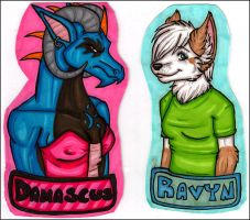 Damascus and Ravyn Badges by silverwing