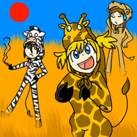 [Death the Kid, Patty and Liz) Africa !!! by BrambleLady