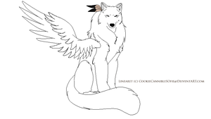 Mystic Wolf Lineart by CookieCannibleSofiel