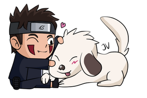 Kiba and Akamaru by CocaColawithIce