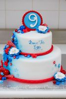 Blue and red candy cake by buttercreamfantasies
