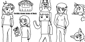 All forms of Dusty (terribly drawn) by Dustyfootwarrior