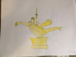 Golden Statue of Ash Pikacu and Lugia by TDManiacXC626