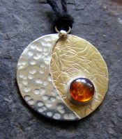 Amber Moon and Sun Necklace by MoonLitCreations