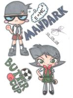 Buttercup and Mandark Chibi by pokediged