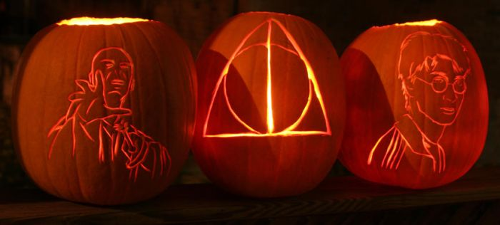 Deathly Hallows Pumpkins by comicalclare