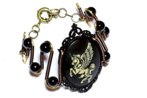 SteamGoth Jewelry - Bracelet - Unicorn Cameo by CatherinetteRings