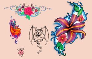 Flash Flower Tattoo Designs by discipleneil777