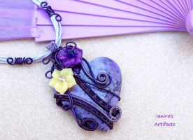 Purple Jasper pendant with Jade flowers by IanirasArtifacts