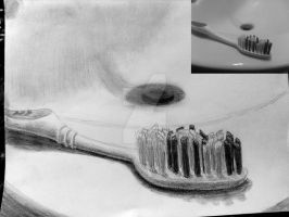 Graphite Pencil Sketch: Tooth Brush by JIMENOPOLIX