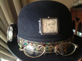 steampunk hat with LED light by OpheliaMylawnwy