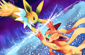 Jolteon vs Sylveon in Thunderbolt Barrier by Phatmon66