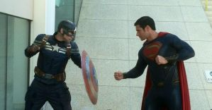 Man of Steel vs Captain America Cosplay by xmanofsteelx