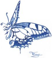 Butterfly with name for Ex Libris by Francoise-Evelyne