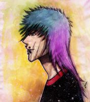 Mixed Media Experiment: One of my Ocs by KasuChii