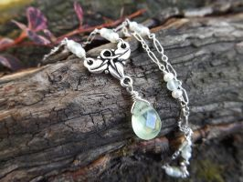 Elven Ivy Pale Green Prehnite and Tiny Pearls by QuintessentialArts