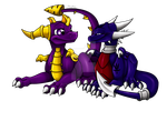 cuddling spyro and cynder by 4-Elements-Dragon