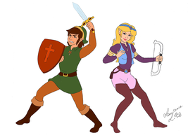 Link and Zelda cartoon- Fight! by Lea-Manga