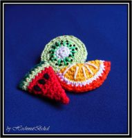 Crochet fruit hairslides by HochmutBelial