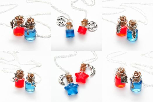 Health + Mana friendship necklaces by FrozenNote