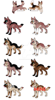 Wolf Couple and Pups Adoption - OPEN by AdoptisFantastic