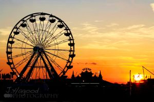 Ferris Wheel Sunset by jhagood23