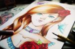 Copic drawing - Lady Rose by ChocolateCookieX3